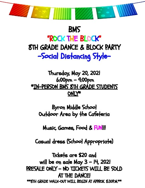 8th Grade Dance May 20, 2021