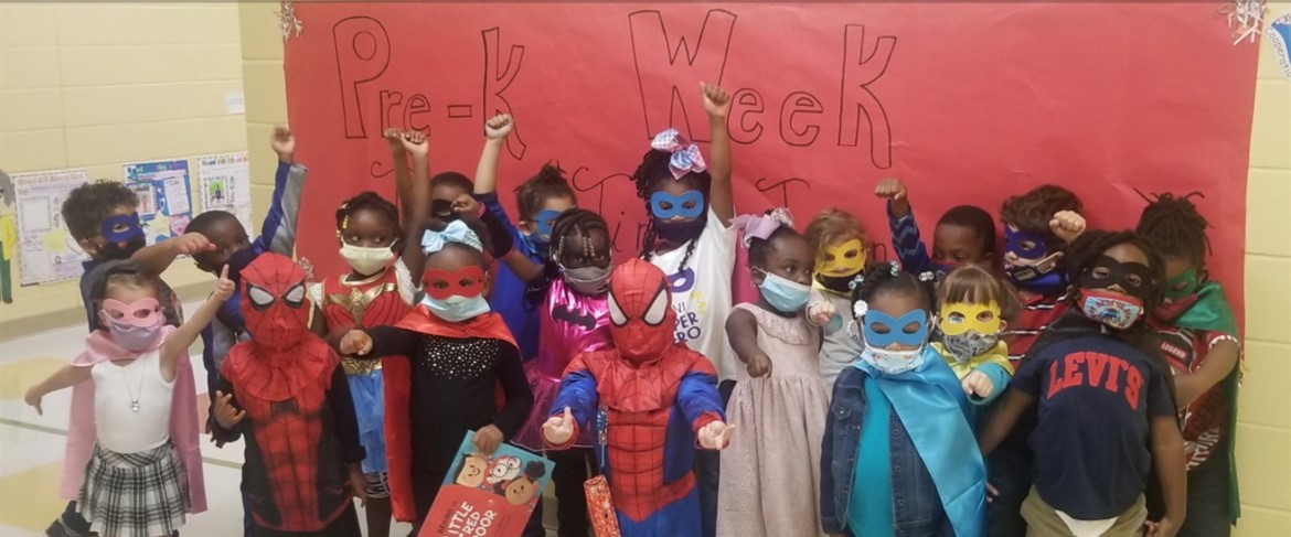 Ms. Leary's class celebrating Pre-K Week with Superhero Day