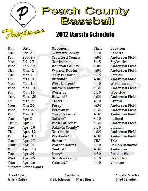 Baseball Schedule Template from www.peachschools.org