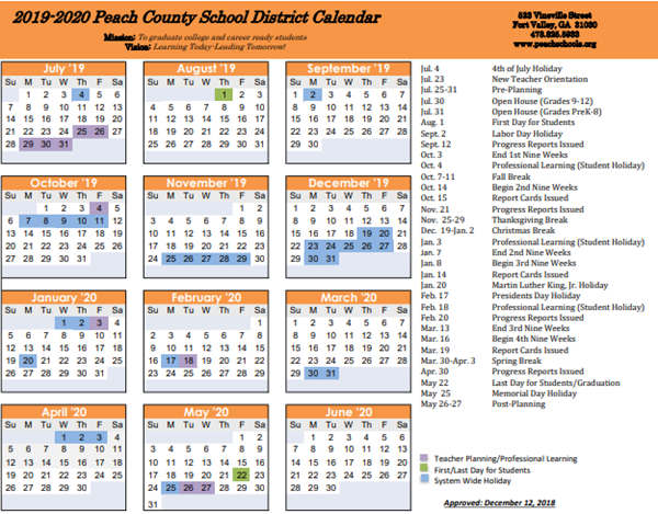 Houston County School Calendar.Peach County Schools