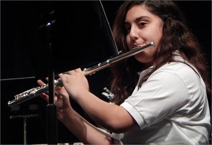 Band student playing flute