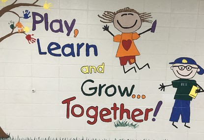 BES Play,Learn and grow together wall art