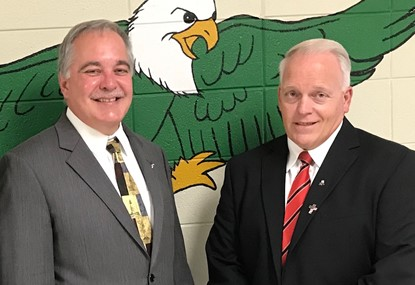State School Superintendent Richard Woods and Mr. Lauritsen