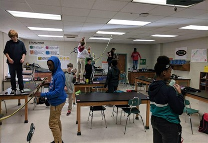 Mr. Wetherington's class making roller coasters.